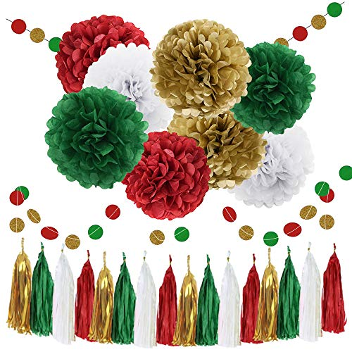 WAYSLA Christmas Hanging Decorations 30pcs Green Red White Gold Bridal Shower Decorations Tissue Paper Pom Pom Tassel Garland Red Green Party Decorations Birthday Xmas Bachelorette Supplies ()