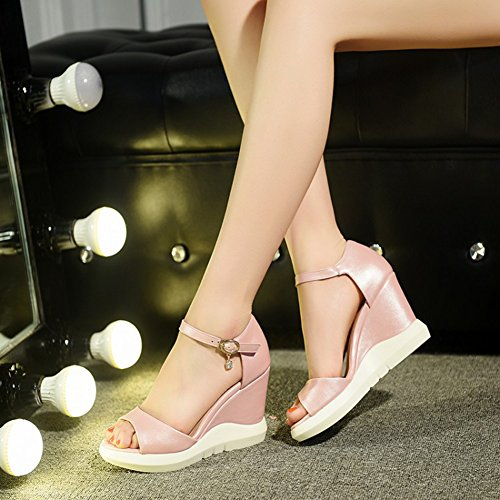 Aisun Damen Süß Kunstleder Durchgängig Plateau Keilabsatz Knöchelriemchen Sandale Pink