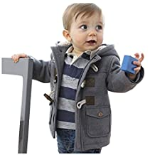 SODIAL(R) New Baby Boys Jacket Winter Clothes Outerwear Coat Cotton Thick Kids Snowsuit Clothes Children Clothing With Hooded(Gray 90CM)