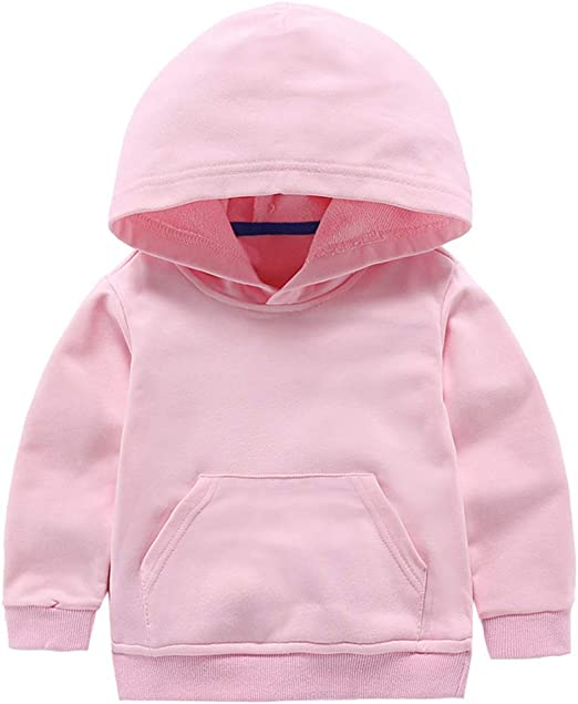 Baby Boy Girl Hoodie Tops Toddler Kids Solid Hooded Sweatshirt Casual Hoodies with Pocket Outdoor Outfit