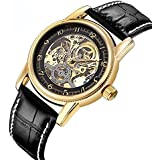 GuTe Dress Style Unisex Auto Mechanical Watch Skeleton Gold-tone Watch ORKINA