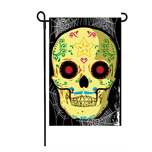 Mexico Day of The Dead Día de Muertos Skull Face Garden Flag Halloween Decoration 12.5 x 18 inch Two Sided Fall Yard Decoration