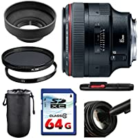 Canon EF 85mm f/1.2L II USM Lens Bundle + UV Filter + Polarizer Filter + 2 In 1 Lens Cleaning Pen + High Speed 64GB Memory Card + Rubber Hood + Deluxe Lens Case