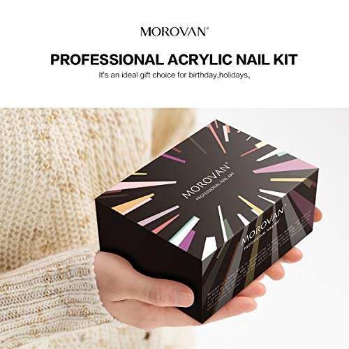 Morovan Acrylic Nail package Acrylic Powder Liquid Monomer Nail Brush Professional Nail Extension Glitter Polymer Nail Tips Starter Nail Art Tools liquid Kit Gift Box Set