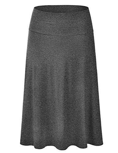 EIMIN Women's Solid Flared Lightweight Elastic Waist Classic Midi Skirt Charcoal - Length Calf Shorts