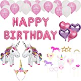 Unicorn Birthday Party Supplies - Unicorn Decorations Including Happy Birthday Banner, Large 3D Unicorn Foil Balloons, Gold Unicorn Headband, Photo Booth Props, Foil Heart Balloons, More.
