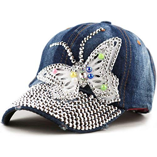 THE HAT DEPOT Bling Rhinestone Butterfly Washed Cap (Denim Blue) at Amazon  Women s Clothing store  9bad5aa8325