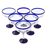NOVICA 'Cobalt Contrasts' Eco-Friendly Recycled Glass Margarita Glasses, 13 Ounces, Clear with Blue Rim (Set of 6)