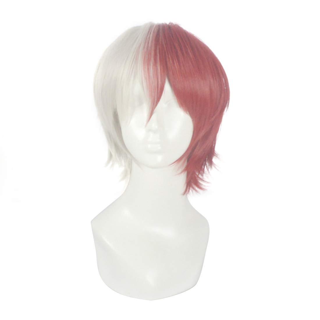Anglayif Anime Cosplay Perruque Bicolore Micro-Volume Cheveux Courts pour Mon héros Academy (Color : Half Silver Gray Half Red)