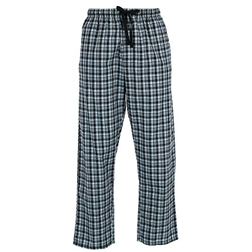 Hanes Men's Woven Plaid Drawstring Sleep Pajama Pants, Large, New Black ()