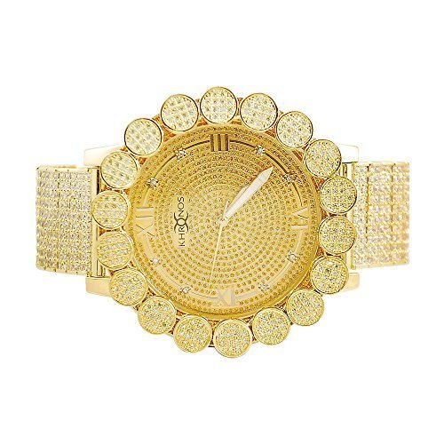Mens Khronos Gold Tone Icy Lab Diamond Cluster Bezel Watch with Full Iced Out Band - Full Diamond Watch Band