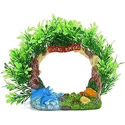 uxcell Aquarium Fish Tank Decoration Bubble Maker Dolphin Wreath Ornament 18x6x15cm