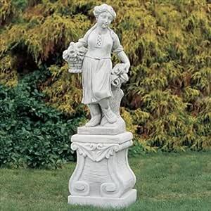 Putte Estatua para jardín con rosas de hormigón mecanismo piedra figuras de jardín-Estatua Figura decorativa escultura de jardín: Amazon.es: Hogar
