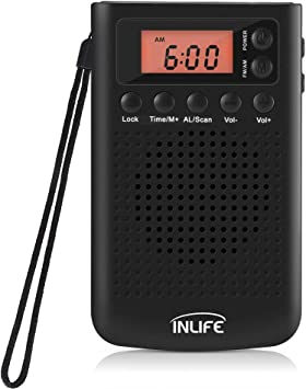 Radio Pequeña Portátil FM/Am con Reloj Despertador y Pantalla LCD Retroiluminada Mini Radio Estéreo de Bolsillo Sintonización Digital con Memorización de Canales 20: Amazon.es: Electrónica