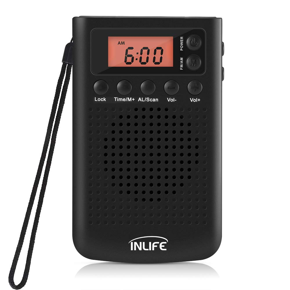 INLIFE AM/FM Portable Pocket Radio, Battery Operated Stereo Radio with Alarm Clock, Snooze Function and 3.5mm Headphone Jack for Walking, Travel