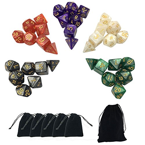 Smartdealspro 5 x 7-Die Series 5 Colors Marble Dungeons and Dragons DND RPG MTG Table Games Dice with Free Pouches