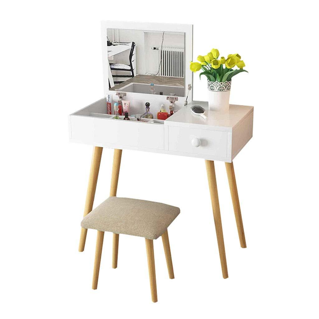 Fashion SHOP Schlafzimmer Schminktischbänke Multifunktionaler Schminktisch, Schminktisch-Set, Hidden Mirror Storage und Leinen-Makeup-Hocker 80cm (weiß) Wohnaccessoires