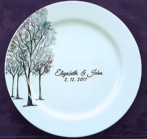 (wedding guestbook alternative, personalized Tree guest book, wedding guestbook plate, wedding platter, Monogram, gold, silver, Trees)
