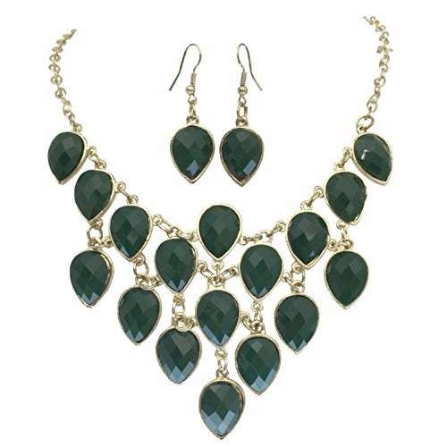 Dark Green Jewel (Dark Olive Green Teardrop Cluster Bib Bubble Cluster Gold Tone Boutique Necklace Earrings)