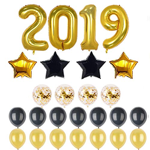 2019 Balloons Decorations Banner Gold Number 2019 Foil Balloons Sign | Balck 18 inches Star Balloon | Black and Gold Balloons | Graduations Party Supplies 2019| New Years Eve Party Supplies 2019 Baby 18' Foil Balloon