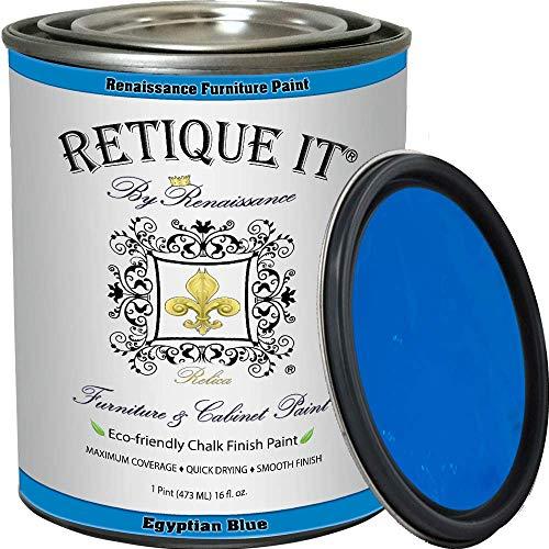 Retique It Chalk Furniture Paint by Renaissance DIY, 16 oz (Pint), 43 Egyptian Blue