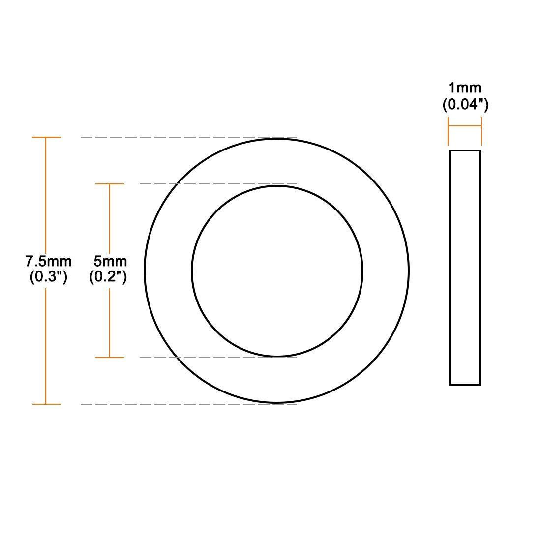 Nylon Flat washers for Screw Bolt M5 7.5 mm OD 1 mm Transparent Thickness 50PCS