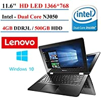 2017 Lenovo Flex 2-in-1 11.6 Premium Touchscreen Convertible Laptop (Tablet), Intel Dual Core N3050 Processor, 4GB DDR3, 500GB HDD, HDMI, 802.11AC Wifi, Windows 10 (Certified Refurbished)