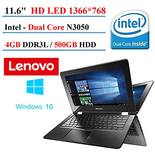 2017 Lenovo Flex 2-in-1 11.6' Premium Touchscreen Convertible Laptop (Tablet), Intel Dual Core N3050 Processor, 4GB DDR3, 500GB HDD, HDMI, 802.11AC Wifi, Windows 10 (Certified Refurbished)