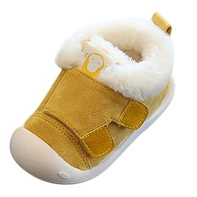 c1ea0e7361e51 Binggong Chaussures Bébé Chaussures Bébé en Cuir Souple Premier Pas  Chausson Cuir Bébé Fille Chaussure Fille Bottines Fourrure Chaudes  Antidérapante ...