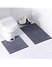 XIYUNTE Bathroom Mats Sets 2 Pieces Bath Mat and Toilet Mat, Chenille Bathroom Rugs, Soft and Absorbent Shaggy Carpet Rugs for Bathroom,Living Room, Machine Washable (Grey)