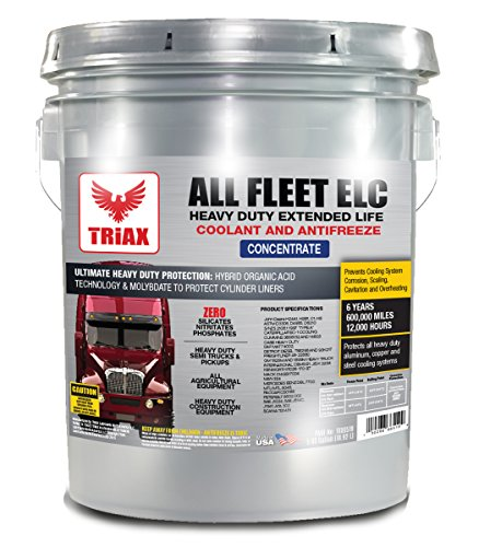 TRIAX FLEET HD ELC COOLANT / ANTIFREEZE - Diesel Extreme HD, 600k miles, zero nitrates, phosphates, silicate - CONCENTRATE - 5 GAL PAIL - No SCA Required.