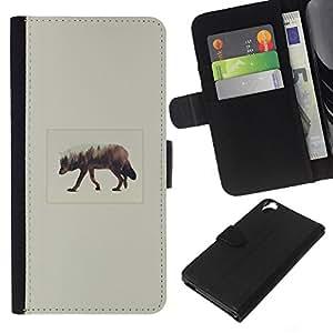 LECELL--Cuero de la tarjeta la carpeta del tirón Smartphone Slots Protección Holder For HTC Desire 820 -- Elk Arte --