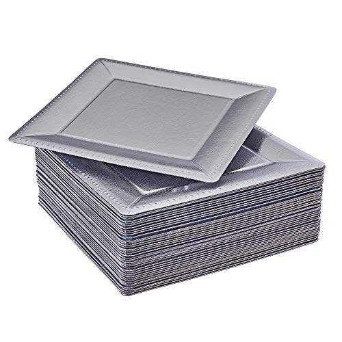 DISPOSABLE SQUARE CHARGER PLATES | 40 pc | Metallic Silver - 13 Plate Square Service