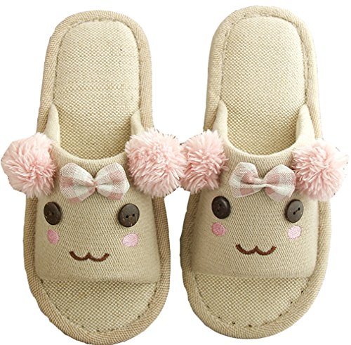 Wishwhat Toddler Little Kid Cute Bows Ball Flax Slippers ...