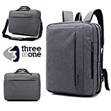 Business Laptop Messenger Bag 17-17.3 Inch/ Grey Nylon Multi-compartment Briefcase/ Computers Backpack Hand Shoulder Bag Tablet Case/ for Men student/ Fits up Office College Travel Casual(New Gray)