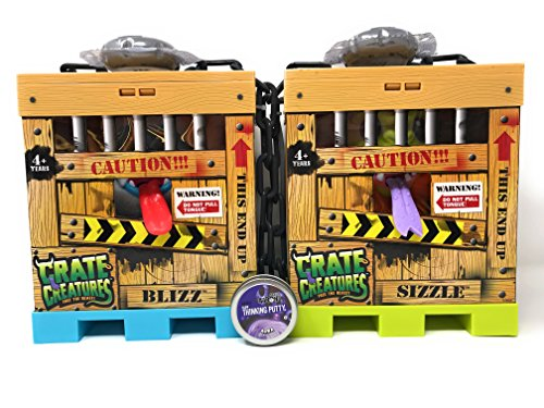 Crate Creatures set of 2, Sizzle and Blizz with FREE Crazy Aaron's Thinking Putty Mini by crate creatures (Image #7)