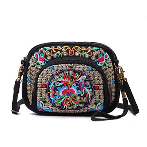 - seeknfind Vinatge Peony Embroidery Cellphone Shoulder Bag Mini Crossbody Bag for Women Girls (76-peony and mandarin duck)