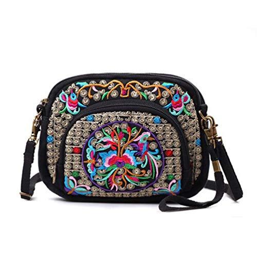 seeknfind Vinatge Peony Embroidery Cellphone Shoulder Bag Mini Crossbody Bag for Women Girls (76-peony and mandarin duck)