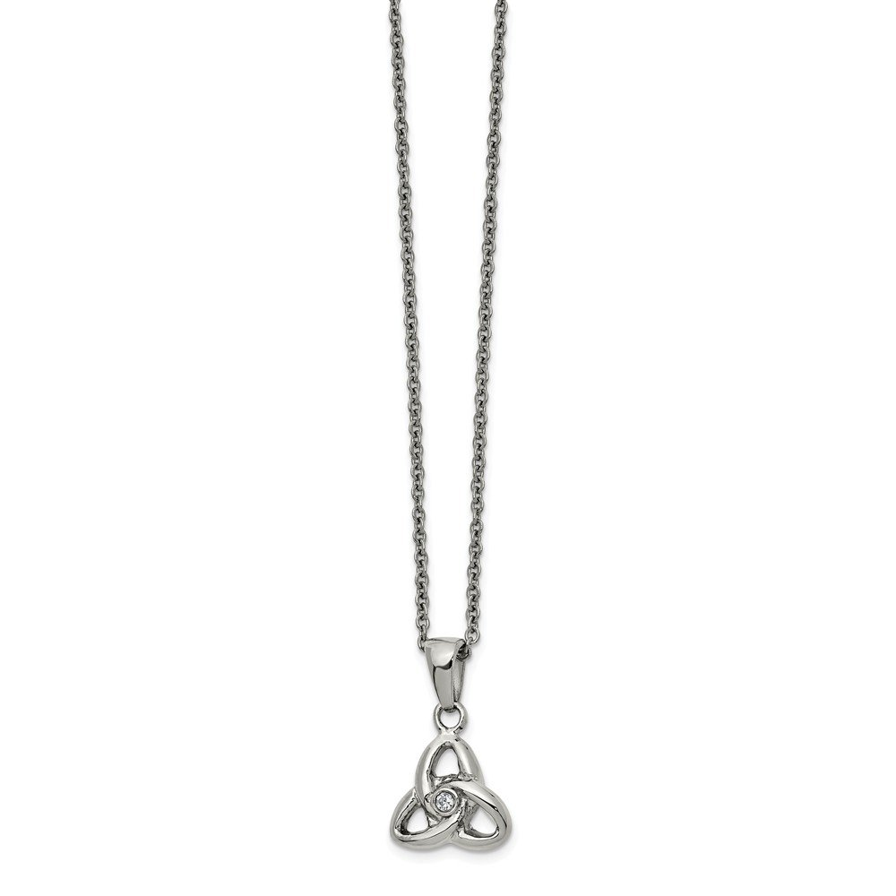 Length 16 in, Jay Seiler Stainless Steel Polished with Preciosa Crystal 16in w//1in ext Necklace