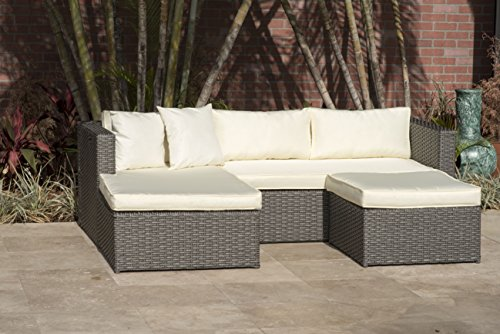 (Atlantic Patio Deluxe Sectional Set, Off- Off-White )