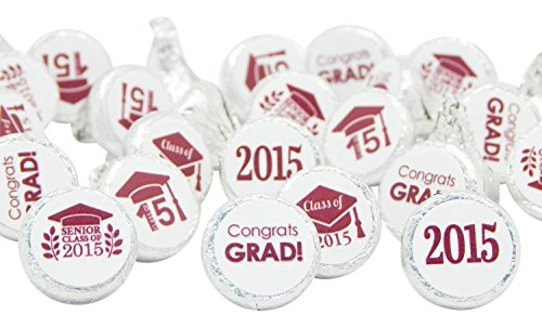 Class of 2015 Graduation Decoration Stickers for Kiss Candies, Set of 324 (Maroon)