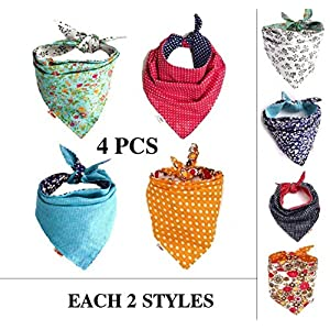 FUNPET 4 Pcs Dog Bandana Triangle Bibs Bright Coloured Scarfs Accessories for Pet Cats and Baby Puppies 15