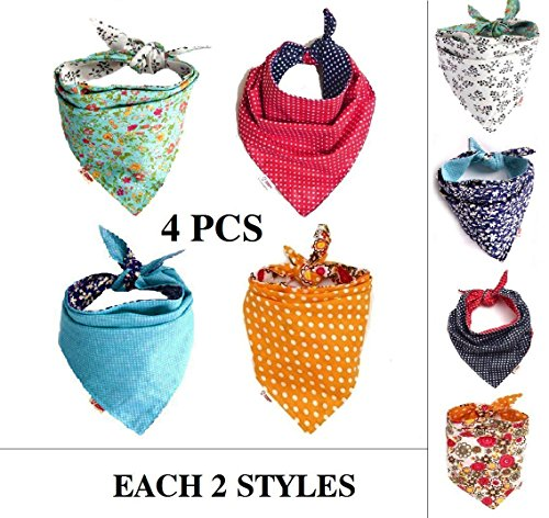 51zuih0JT3L - FUNPET 4 Pcs Dog Bandana Triangle Bibs Bright Coloured Scarfs Accessories for Pet Cats and Baby Puppies