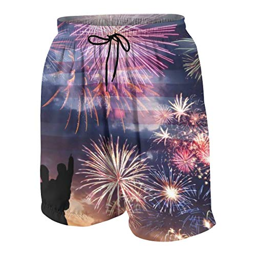 Holiday Sky with Fireworks and Flag of America, Independence Day Boys Teens Swim Trunks White