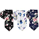two color ties - EasyJoy Skinny Ties Men's Cotton Printed Floral Necktie (color 2)