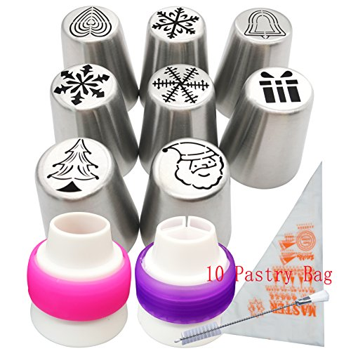 Russian Icing Piping Tips set Christmas Design for Cakes Cupcakes Cookies - 21pcs set Cake Decorating Pastry Baking Tools Kits 7pcs Icing Nozzles-2 Coupler - 10 Disposable Pastry Bags (Chirstmas Tips) (Russian Cookies Christmas)