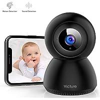 Victure 1080P Cámara IP WiFi Cámara de Vigilancia con Detección de Sonido y Seguimiento de Movimiento Camara vigilancia Solo Compatible con 2.4GHZ