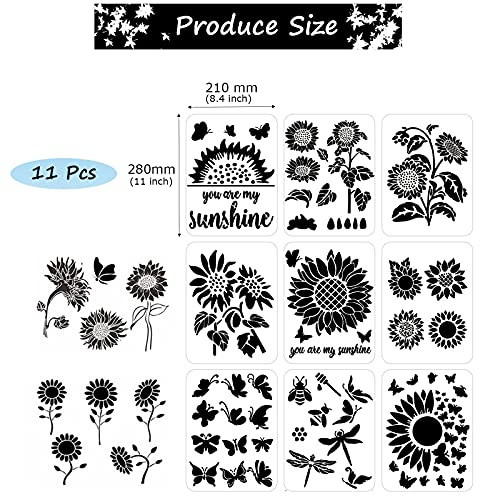 Sunflower Stencil, 11 Pcs A4 Size Reusable Butterfly Sun Flower Stencils for Painting on Wood Canvas Bee Dragonfly Stencil Kit for Drawing on Walls DIY Mylar Template, 8.4 x 11 inch