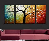 3 Piece Wall Art 100% Hand Painted Art Colorful Tree Abstract Oil Painting Large Group Painting Canvas Art Set Free Shipping Stretched Ready to Hang