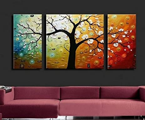 3 piece wall art 100 hand painted art colorful tree abstract oil painting large group